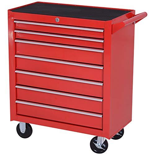 DURHAND Carro de Herramientas con 7 Cajones Caja Taller Cerradura tipo Mueble de Almacenamiento para Taller Garaje y Hogar Chapa de Acero Ruedas 69x33x77.2cm Rojo