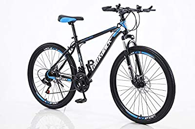 HIRUNS Full Mountain Bike,Mens and Womens Professional 21 Speed Gears 26in Bicycle, Twist Shift, Black and Blue