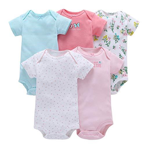Vine 5 Pezzi Body Neonati a Manica Corta Pagliaccetto Pigiami di Cotone Neonato Tutina Set Regalo per Bambini, 18-24 Mesi