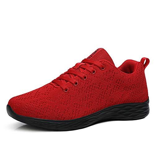 CXWRZB Mujer Hombre Gimnasia Ligero Sneakers Zapatillas de Deportivos de Running para Rojo Negro C 43 EU