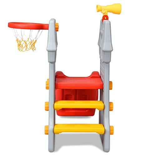COSTWAY 4 in 1 Kinder Spielplatz mit Teleskopspielzeug, Kletterleiter & Rutsche & Basketballkorb & Fußballtor, Schloss Rutsche, Spielrutsche, Kinderrutsche für 3-8 Jahre - 9