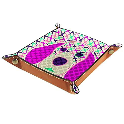 Caja de joyería para hombre de perro abstracto de la redondez colorida para los hombres Key Wallet monedero viaje