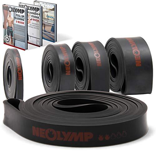 NEOLYMP Premium Pull Up Fitnessband | Perfekt für Muskelaufbau und Crossfit Freeletics Calisthenics | Klimmzugband Widerstandsband (Schwarz Stufe 2)