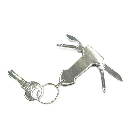 Zdmathe Swiss + Tech Pocket 7 en 1 porte-clés Multi outil avec lampe de poche LED Décapsuleur Tournevis Couteau pour voiture Safety Outdoor Camping