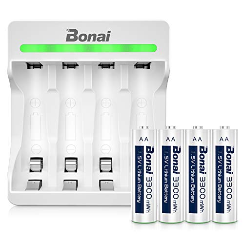 Rechargeable Lithium AA Batteries, Bonai Rechargeable Li-ion AA Batteries with 4 Bay Micro USB Charger, 3300mWh,1500 Cycles, 1.5V Constant Output, 2Hours Quick Charge, Auto-Safety Feature- 4 Packs