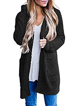 ZESICA Women s Casual Long Sleeve Open Front Sweater Chunky Knit Cardigan Outwear with Pockets Black