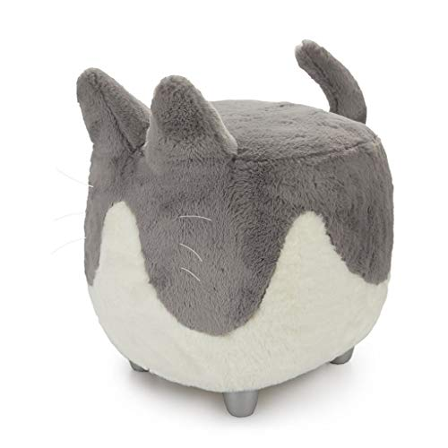 Balvi Taburete Le Minou Color Gris/Blanco Reposapiés con Forma de Gato Muy Suave Patas de Madera Madera/poliéster 42x36x44 cm