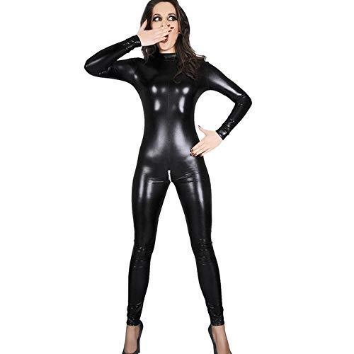 WWC Lencería Sexy para Mujer de imitación de Cuero del Club Nocturno Mono Mono Adulto látex PVC Catsuit Cremallera Abierta erótica Desgaste-L