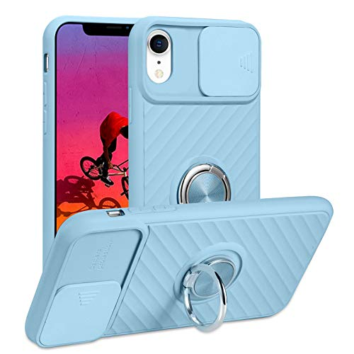 iPhone XR Case with Ring Kickstand Rotatable Grip Magnetic Car Mount Slim Shockproof Full-Body Camera Protective Cover for iPhone XR 6.1 inch 2018 Light Blue