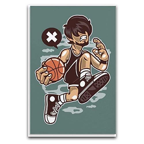 WPQL Cartoo - Póster de baloncesto (40 x 60 cm)