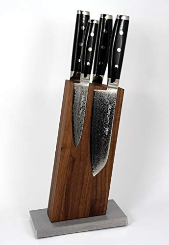 BLOCKWERK Messerblock unbestückt magnetisch ohne Messer 13 Grad für 4 Messer Nussbaum auf Stahlsockel