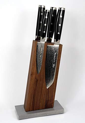 Bloc de Bloc Couteaux Magnétique sans Couteaux 13 ° pour 4 couteaux Noyer sur socle en acier