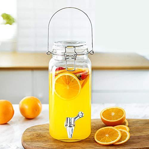 Bucket Yxx@ Dispensador de Bebidas con Grifo Recipiente de Agua de Vidrio de 1.5L-3.8L Botella de Cristal con Tapa y Cierre