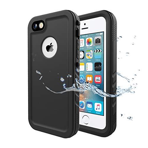 Cozycase Wasserdicht Hülle für iPhone SE, Schutzhülle Ganzkörper Rugged Case [Wasserdicht] [Staubdicht] [Stoßfest] mit eingebautem Displayschutzfolie NUR für iPhone SE/iPhone 5/ 5S (Schwarz)