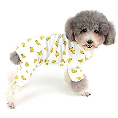 Zunea Small Dog Jumpsuit Adorable Banana Overalls Soft Cotton Pyjamas Rompers Puppy Sleeping Clothes Unisex Four Legs Pjs Apparel for Pet Cats Pups S