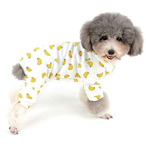 Zunea Kleiner Hunde-Overall mit Bananenmotiv, weiche Baumwolle, Schlafanzug, Schlafanzug, Unisex, vier Beine, für Haustiere, Katzen, Welpen, Größe XXL