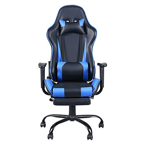 Gaming Chair with Footrest Tier Office Armchair Chair Computer Chair High Back Ergonomic Adjustable Reclining Swivel Chair Racing Gaming Desk Chair Black and Blue