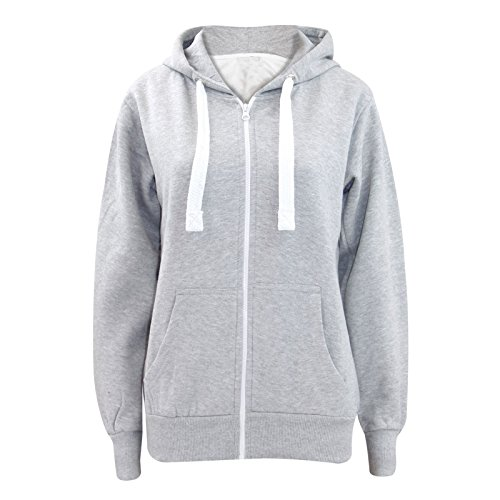Parsa Fashions Ladies Plain Zip Up Hoodie Womens Fleece Hooded Top Long Sleeves Front Pockets Soft Stretchable Comfortable Silver GreyXL UK 14