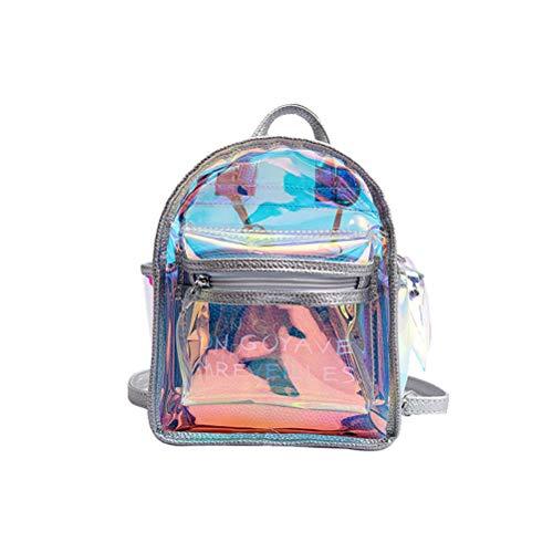 FENICAL Elegante mochila holográfica transparente Holograma lindo bolsa de hombro de la escuela Regalo de la taleguilla para mujeres niñas