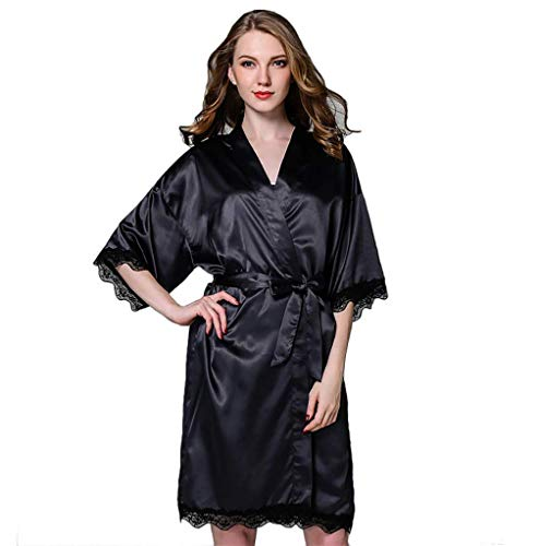 HiSexy Damen Pyjama mit Spitze, kurz, seidig, Schwarz