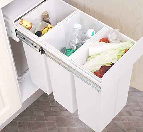 ilauke 30L Küchenabfalleimer W262* D490* H420 mm, ausziehbarer Mülleimer, mit 3 Fächern zur Mülltrennung, 3x10L Einbaumülleimer, Deckelheber, Bodenmontage, Ideal für Küche Bad und Büro