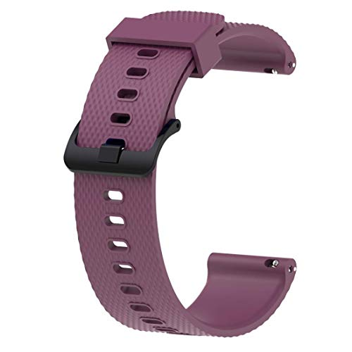 ACUTAS 20MM Silicone Rubber SportWatch Band Strap for Xiaomi Huami Amazfit Bip Younth/Ticwatch 2 / Ticwatch E/Garmin Vivomove HR (Size:Large) (Purple)