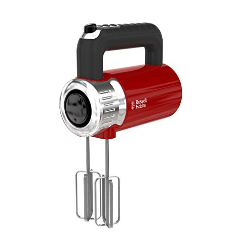 Russell Hobbs MX3100RDR Retro Style Hand Mixer, 4 Speeds + Turbo Boost, Red