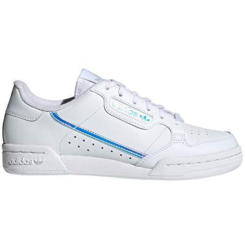 adidas Continental 80 Blancas, Zapatillas Deportivas para Mujer. Sneaker. Nostalgia Vintage (38.5 EU, White Iris Band Fluor Blue Pr)