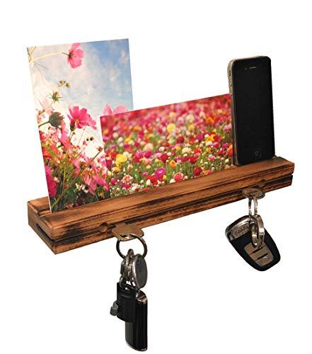 AVEELO Schlüsselbrett aus Holz Buche Rustikal massiv 30x6x3cm Schlüsselhalter in Schwebeoptik Schlüsselboard Schlüsselleiste Schlüßelbrett (Rustikal mit Nut)