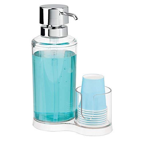 mDesign Dispensador de enjuague bucal con portavasos – Expendedor de plástico para enjuague con 8 vasos pequeños – Prácticos accesorios para baño para la higiene oral – transparente y plateado
