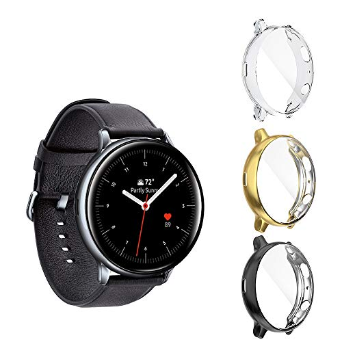 Seltureone (3 Pack) Compatible for Samsung Galaxy Watch Active 2 Cases 44mm (2019), Heavy-Duty Overall Full Body Protective TPU Anti-Scratch Case Cover for Active2 44mm- Clear,Black,Gold