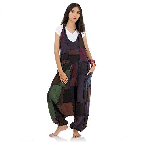 Princess of Asia Hippie Jeans Hose Overall Haremshose Latzhose Pumphose für Damen 36 38 40 42 (Lila)