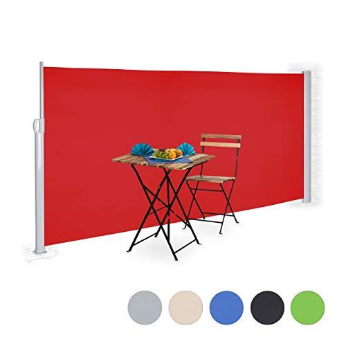 Relaxdays Seitenmarkise ausziehbar, Rollo für Balkon, Garten, Wand, UV-beständiger Sichtschutz HxB: 180 x 300 cm, rot