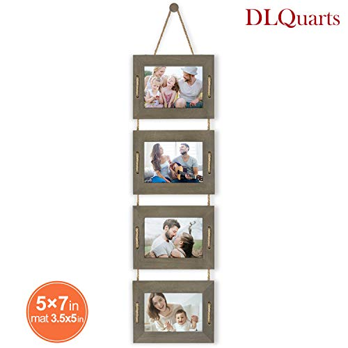 DLQuarts Collage Hanging Picture Photo Frame 5x7, 4-Frame Set On Hanging Rope, 3.5x5 with Mat or 5x7 Without Mat, Rustic Solid Wood Photo Frame Weathered Green