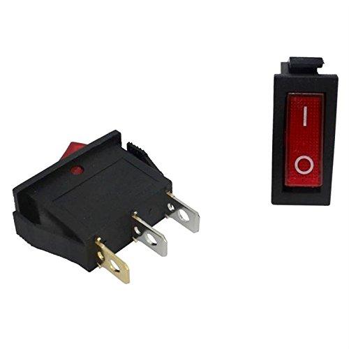 5x Ausschalter 1polig ; I-0 ; 12V 20A, 31x14mm LED Rot ; Wippschalter