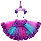 Fenical Einhorn Kostüme Kinder Einhorn Horn Strinband mit Ohren Blumen Regenbogen Tutu Rock...