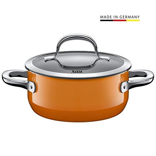 Silit Passion Orange kook-/braadpan, met glazen deksel, 16 cm, 1,3 l, Silargan functionele keramiek, platte rand, geschikt voor inductie, uitloopmodel