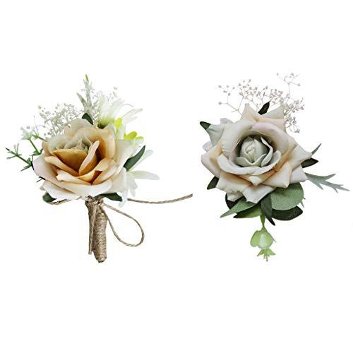 B Baosity 2x Wedding Prom Decoration Wrist Corsage Hand Flowers Banquet Costume