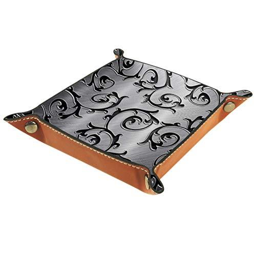 YATELI Kleine Aufbewahrungsbox,Herren-Valet-Tablett,Metall Rattan Silber,Leder Catchall Organizer für Coin Box Key Schmuck