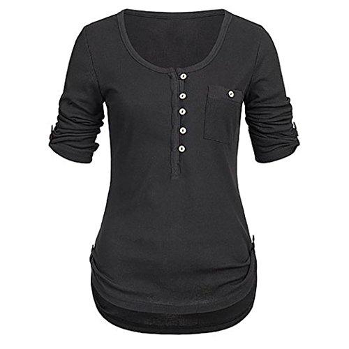 BHYDRY Frauen Damen Solide Langarm Knopf Bluse Pullover Tops Shirt Mit Taschen(XL,Schwarz)