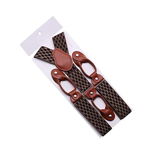Correa 35 mm de Ancho Suspensores for Hombres Botón de Cuero marrón Fin del botón Elástico Tuxedo Y Volver Hombres Moda Suspenders Pantalones Pantalones Papá Papá Casual (Color : 37)