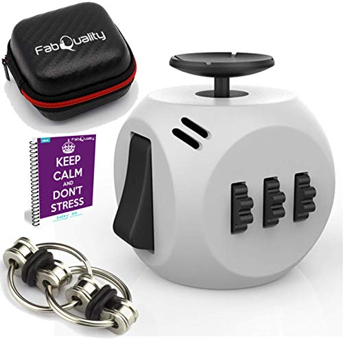 FabQuality Fidget Toys + Steel flipping Chain - Premium Quality Fidget Cube Ball with Exclusive Protective Case, Stress Relief Toy (Black & White))