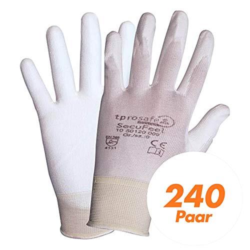 tprosafe SecuFeel white PU-Arbeitshandschuhe - Schutzhandschuhe - Lackierhandschuhe - Allrounder 240 Paar, Größe:8