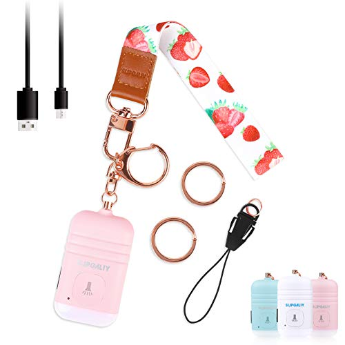 SUPGALIY Safesound Personal Alarm with Wrist Lanyard 1 Set USB Rechargeable 130dB Alarm Keychain LED Flashlight Non-Slip Emergency Self Defense Security Sound Safety Siren for Women Kid Elderly Pink