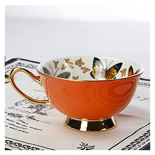 YUANLIN porzellantasse Kaffeetassen Porzellan Butterfly Flower Teetasse & Untertasse Set Britische Nachmittag Tee Zeit Keramik Tasse Büro Drinkware porzellantasse Bone China