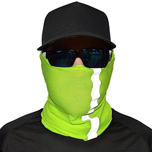 JOHN BOY Construction Face Guard - Hi-Viz Reflective Jobsite Dust Mask with UV Sun Protection & Moisture Wicking Fabric - NEON YELLOW