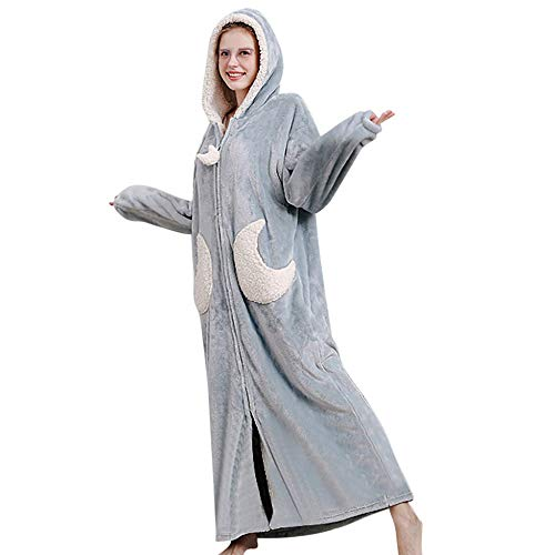 Albornoz cálido en Invierno con Capucha para Mujer Moda Casual Largo camisón Espesado Terciopelo de Coral Bata de baño Mujeres Espesar Coral Fleece Robe 203