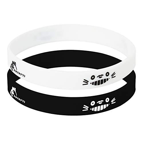 SosoJustgo2 Unisex Anime Bangle Bracelet Soft Thicken Silicone Couple Bracelet Letters Printing Sports Gym Rubber Wristband Anime Fans Gift(Totoro 2pcs)