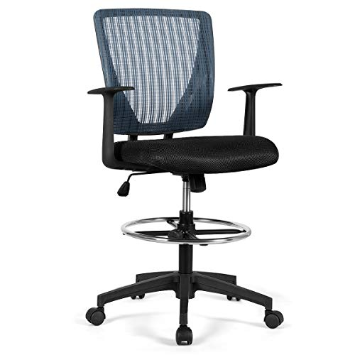 Giantex Mesh Drafting Chair with Footrest Ring, Adjustable Height and Lumbar Support Mid Back Swivel Rolling Executive Chair for Standing Desk, Home Sturdy Office Furniture (Black & Blue)