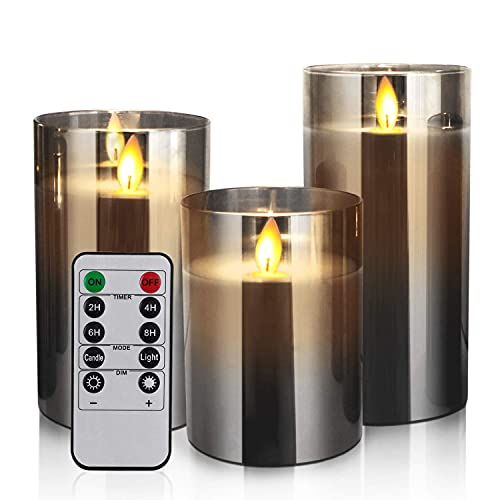 Flameless Led Candles Flickering, Yinuo Candle Real Wax Fake Wick Moving Flame Faux Wickless Pillar...